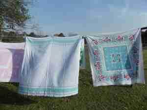tablecloths on clothesline