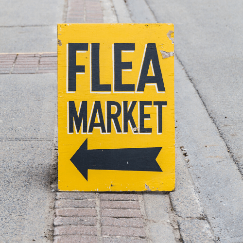 visit flea markets for 'almost a freebie' items