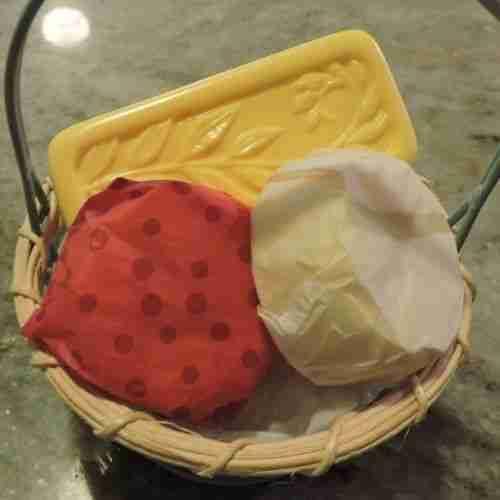 a basket of handmade soaps
