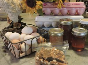 fresh eggs, peanut brittle and jellies