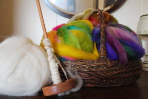 Basket of colorful roving