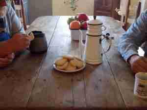 Enamelware coffee pot; tea cakes