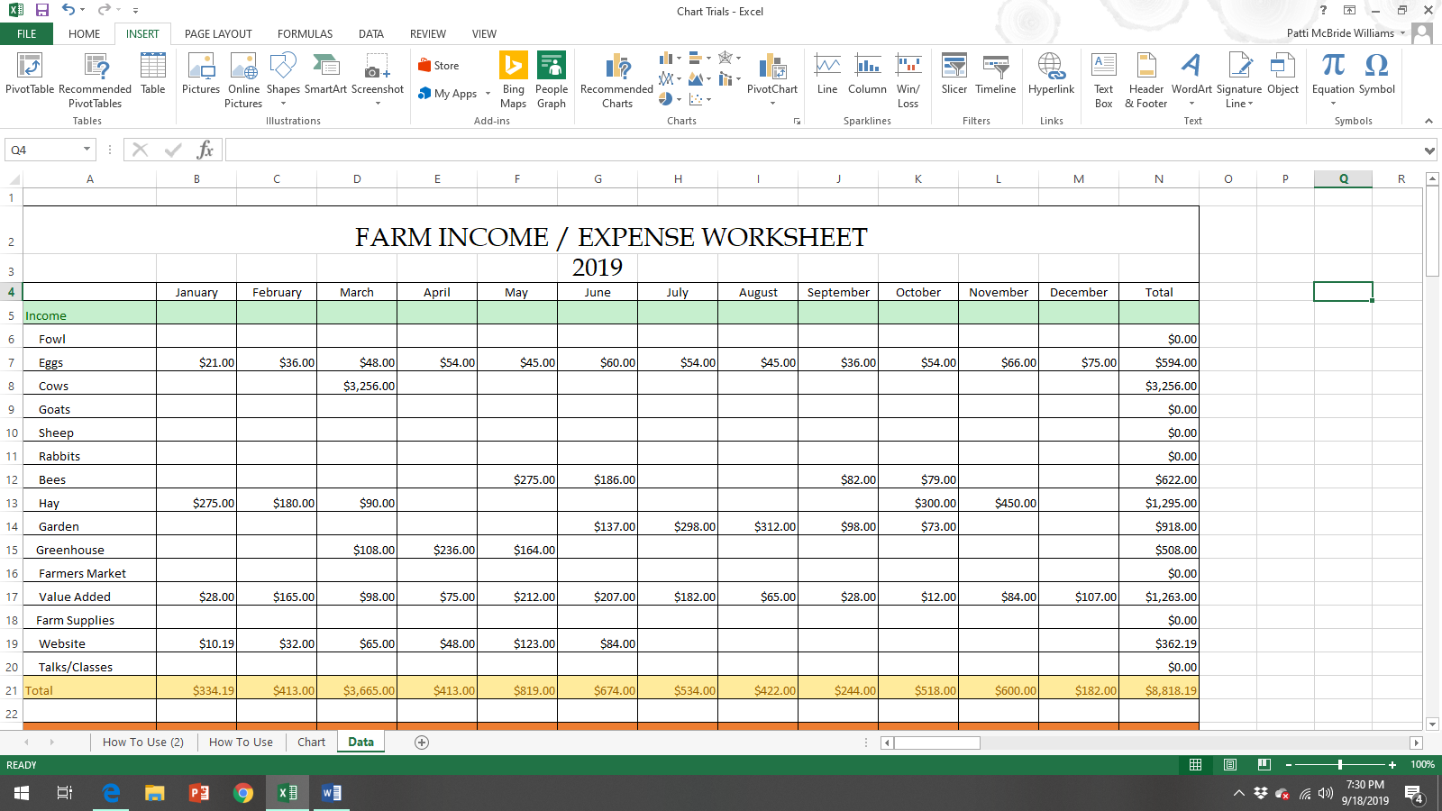 Income and Expense Spreadsheet for Homesteaders and Small Farms Page 1