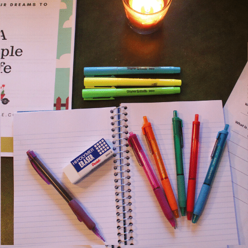 Pens, Notebook and Supplies
