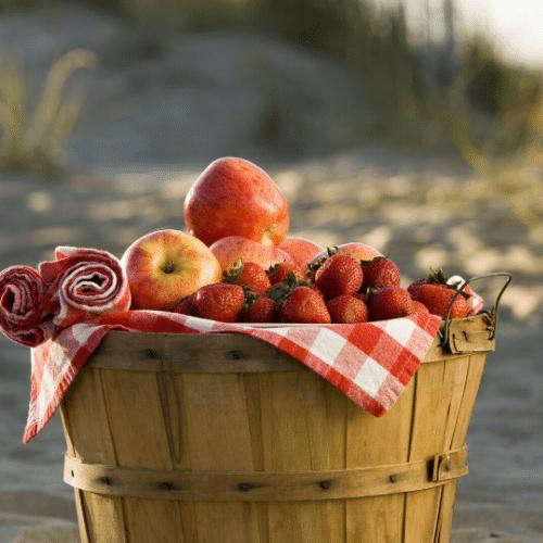 Peter takes a fruit basket