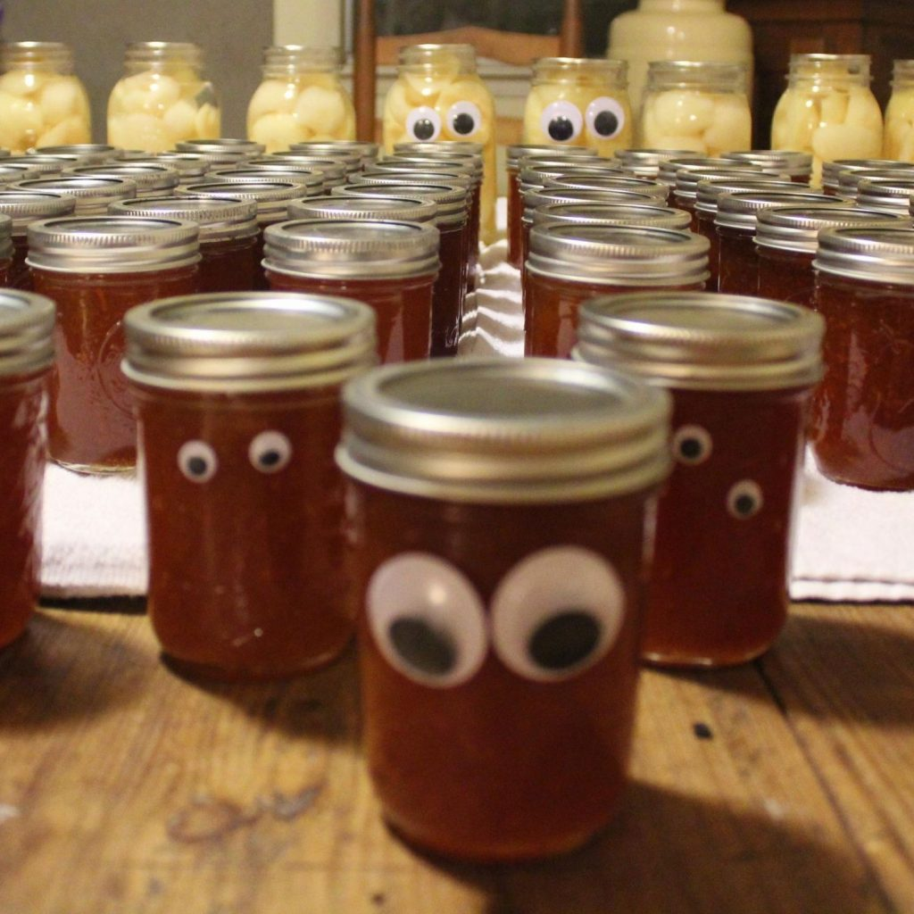 carrot cake jam lined up like an army