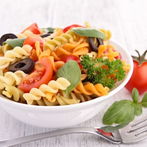 pasta salad is a cool meal during the heat of canning