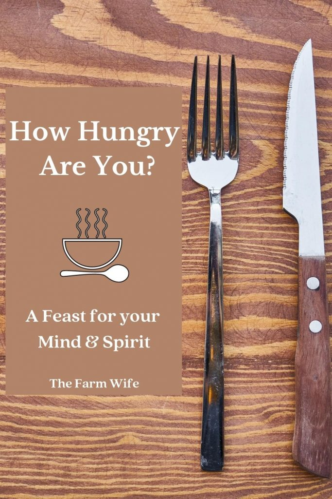 We are hungry in different types - hunger for food, for companionship and knowledge.  We need to feed our bodies and minds, but we also need to feed our spirits.  Learn how to do that here!