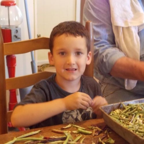 have kid friendly chores such as shelling peas