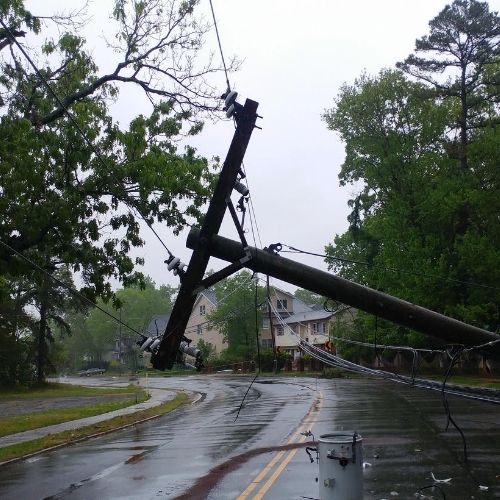 stay away from downed powerlines during a storm