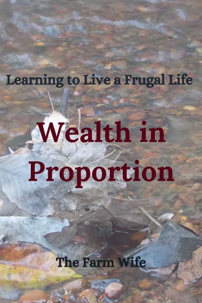 Learn to Live a Frugal Life by understanding Wealth in Proportion