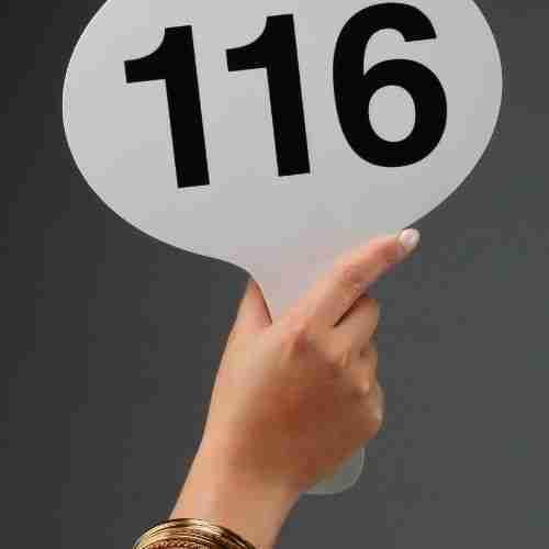 a bid card with #116