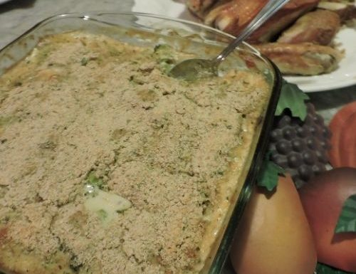broccoli casserole with tin fruit napkin rings