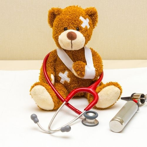 a teddy bear as a pretend patient