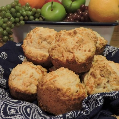 a basket of muffins for a pot luck