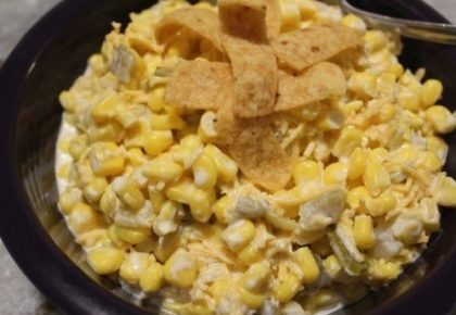 corn salad topped with fritos