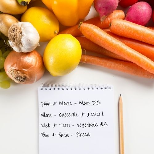 the food list for a pot luck meal