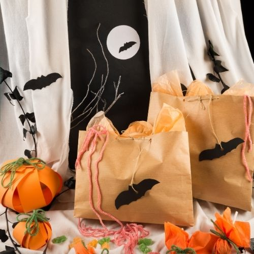crafting bags for a Halloween party activity