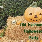 A pumpkin and gourds on hay bales for an Old Fashioned Halloween party
