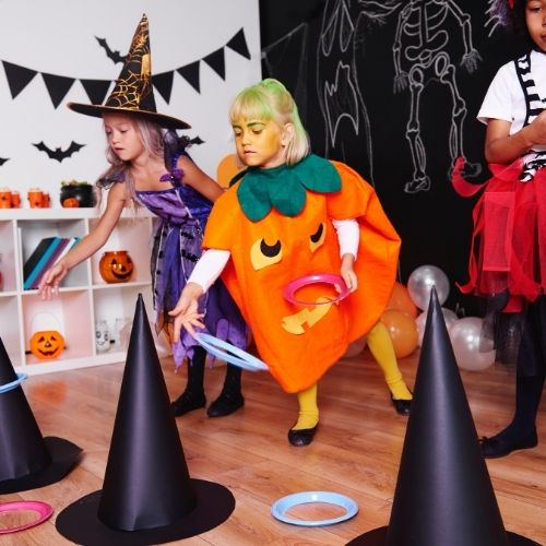 witches hat toss for a Halloween party
