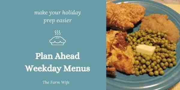 holiday weekly menu planning
