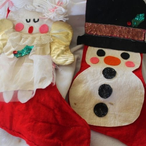 an angel and a snowman Christmas stocking