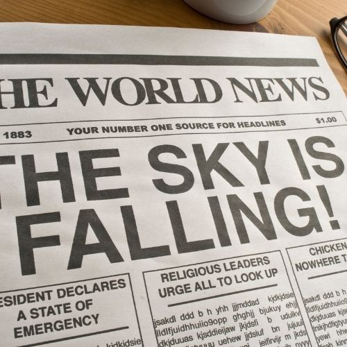a fake newspaper stating 'the sky is falling!'