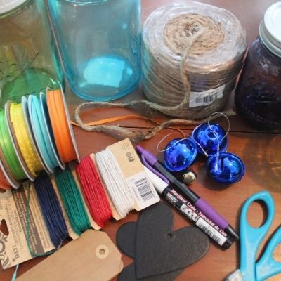 ribbon, tags and other supplies to make a Christmas Spirit in a Jar