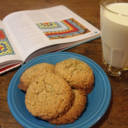 a plate of spiced oatmeal cookies, a glass of milk and a good book