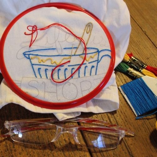 needles, thread, hoops and other supplies to create a kit for embroidery
