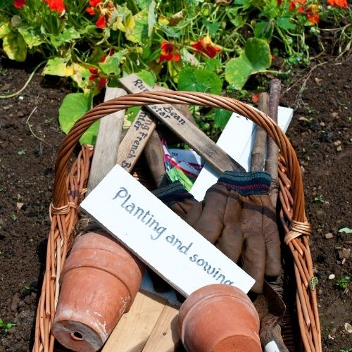 create a kit for gardeners with gloves, sheers, seeds and more