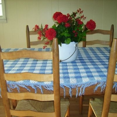 a country table with a blue and white tablecloth and red geranium centerpiece