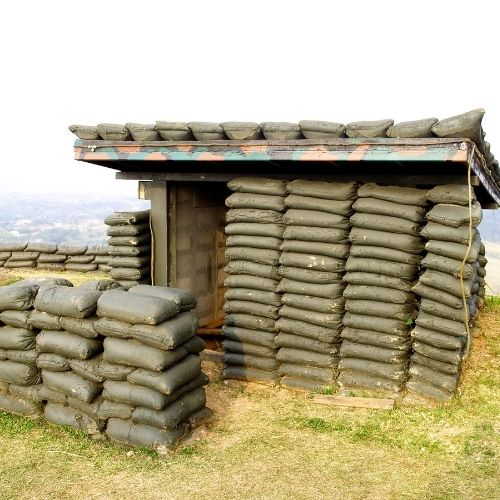 sandbags used as a makeshift shelter for soldiers