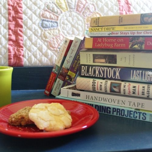 a stack of books, cookies and a mug of tea for your winter reading list