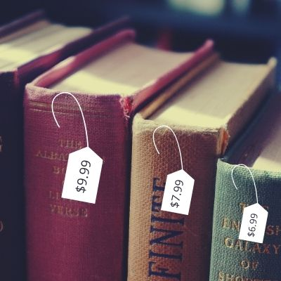 old books with price tags
