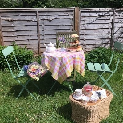FInd down time with a backyard tea party