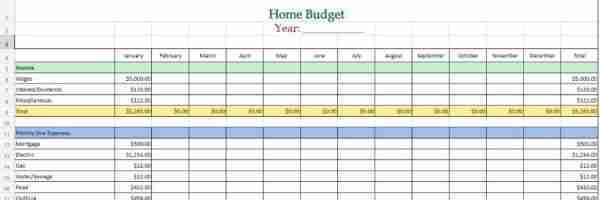 Simple Home Budget Worksheet
