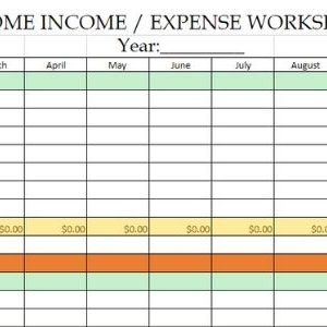 Easy Home Income and Expense Spreadsheet