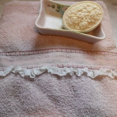 hand embellished bath towel