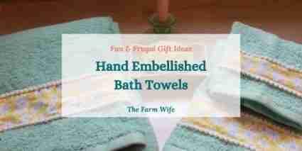 hand embellished bath towels